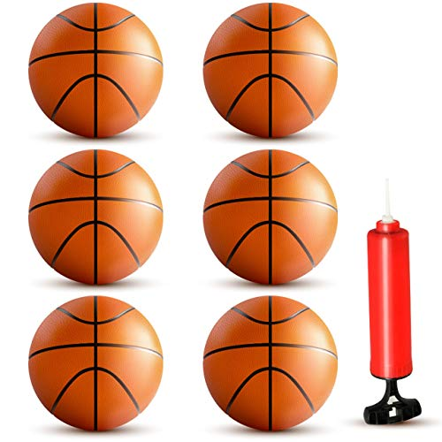 BestKid Ball Mini Basketball Set – 6Pcs of 6quot Inflatable Miniature Basketball Set with Included Pump and Needle – Durable Rubber Material – Ideal for Pool Indoors Parties