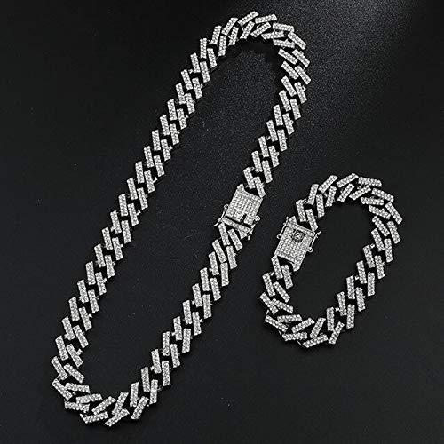 BJGCWY Pulsera de Cadenas de Diamantes de imitación pavimentada de Cristal Helado de 15mm para Hombre joyería 8/16/18/20 / 24in 8 Pulgadas y 18 Pulgadas Collar Pulsera 4