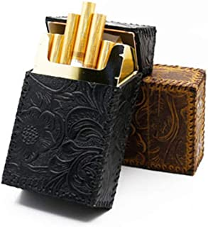 FRDYB Cigarette Case 20 Sticks Retro Portable Cigarette Case, Leather Cigarette Case, Ideal Smokers, Black, Brown, (Color : Brown)