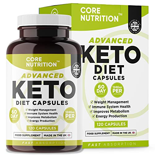 Keto Diet Pills - Advanced Keto Supplement for Men & Women - 2 Month Supply - MCT Oil, Green Tea, Vitamins & Minerals - Normal Carbohydrates and Fatty Acids Metabolism - Made in UK by Core Nutrition