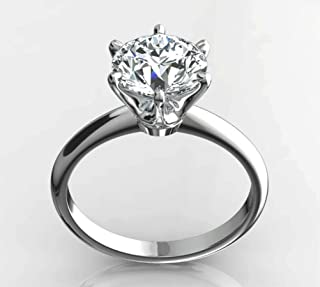 14K White or Yellow Solid Gold Solitaire Engagement Rings for Women