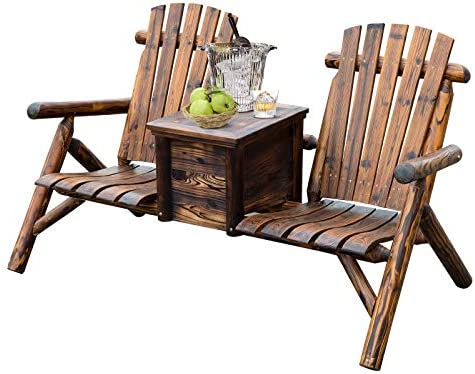 Best Outsunny Wooden Double Adirondack Chair Loveseat with Inset Ice Bucket, Rustic Aesethic, Weather-Res