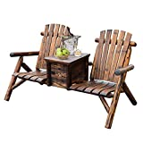 Best  - Outsunny Wooden Double Adirondack Chair Loveseat with Inset Review