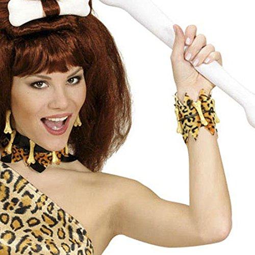 NET TOYS Knochen Armband Leoparden Armschmuck Neandertaler Armreif Steinzeit Armkette Dschungel Schmuck Höhlenmensch Accessoire Karneval Kostüm Zubehör