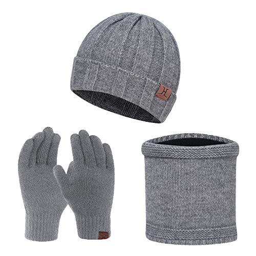 TAGVO Winter Mütze, Schal & Touchscreen Handschuh-Sets 3 in 1 Warmes Zubehör, Warme Fleece Innenfutter, Elastischer Strick Beanie, Nackenwärmer, Screen Touch Handschuhe für Herren Damen