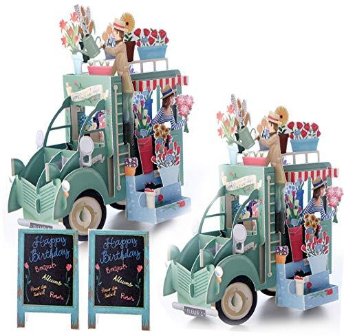 moin moin メッセージ カード バースデー グリーディング 360度 飛び出す 切り絵 芸術 綺麗 立体 3D アンティーク な 移動販売車 の花屋 さん 看板 (立体カード + 封筒 × 2つセット) / ニュアンスブルー2つ
