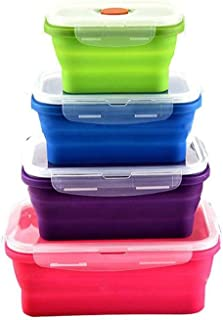 Keweis Silicone Lunch Box, Collapsible Folding Food Storage Container with BPA Free Lids, Kitchen Microwave Freezer and Dishwasher Safe Kids Lunch Boxes (4 Pack)