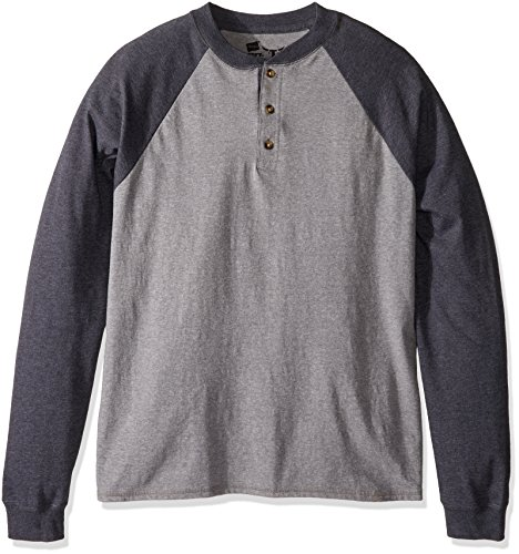 Hanes Beefy Henley – Camiseta de manga larga para hombre, gris Oxford/pizarra jaspeado, Grande