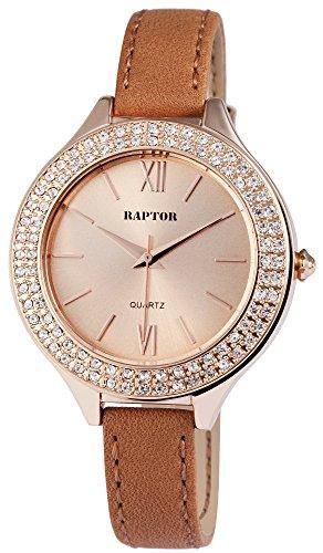 Raptor Damen - Uhr Oberseite Echt Leder Armbanduhr Dornschließe Analog Quarz RA10120