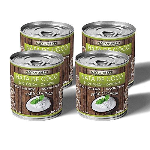 Naturseed - Nata de coco ecológica Original para cocinar, sin lactosa, sin aditivos, ni conservantes, 100% natural. Nata Vegetal (4x200ml)