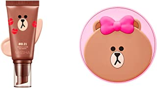 Missha Line Friends Bundle: Perfect Cover BB Cream #21 + Glow Tension #21 - Long Lasting Flawless Finish Concealing Makeup That Hydrates and Brightens Skin