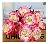 Fleur Artificielle 9 Têtes, Bouquet De Roses, Mur, Jardin De La Maison, Table Décorative, Main De Mariage, Bord en Poudre, 42Cm