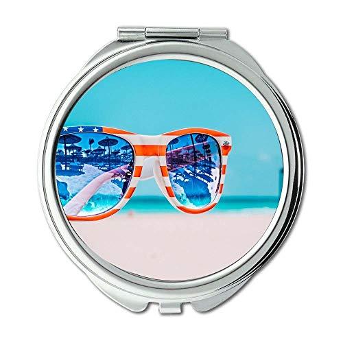 Spiegel, Reise-Spiegel, Strand unscharfer Hintergrund nah Oben, Taschen-Spiegel, beweglicher Spiegel