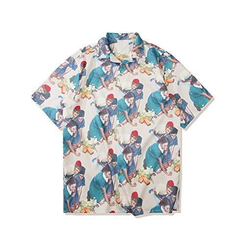 Camisas de Manga Corta para Hombre Primavera y Verano Nueva Tendencia Retro Personalidad Camisas Sueltas Estampadas Camisas de Manga Corta S