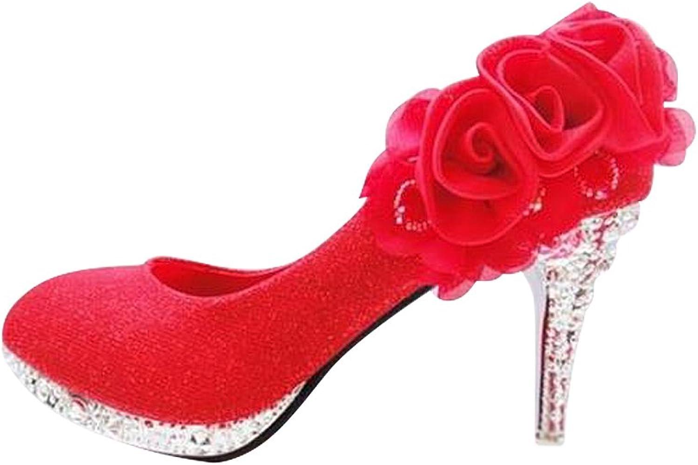 Hanglin Trade Women's Ankle Thin High Heel Island Platform Wedding Party Dress Pumps shoes