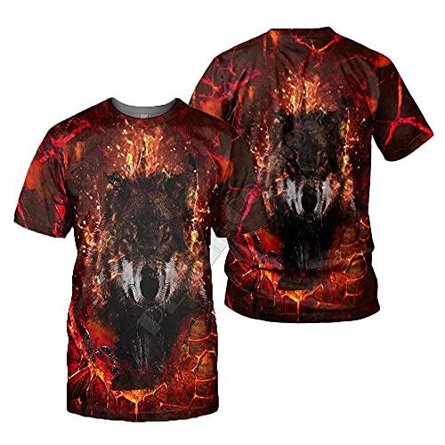 LIUBAOBEI 3D Camisetas para Hombre,Camiseta con Estampado De Lobo Animal para Hombre, Moda De Verano, Manga Corta, Cuello Redondo En 3D, Tops De Manga Corta para Hombre, Ropa De Calle Hip Hop-XXL