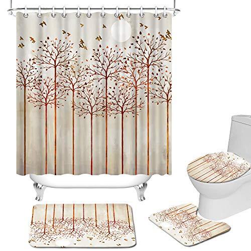 Fushvre Vintage Baum Badezimmer Sets mit Duschvorhang & Teppichen, Fall Duschvorhänge für Badezimmer Sets mit Teppichen, hellbraun, Badezimmer-Dekor, 4 Stück Haken enthalten