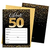 Black and Gold 50th Birthday Party Invitations - 10 Cards with Envelopes