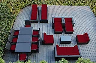 Ohana 20-Piece Outdoor Patio Furniture Sofa, Dining and Chaise Lounge Set, Black Wicker with Red Cushions - Free Patio Cover