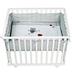 roba running grille 'Adam & Owl', running stable 75x100 cm, safe play grid inkl. skyddsinsats & rullar, babykrypningsgaller, trävitt