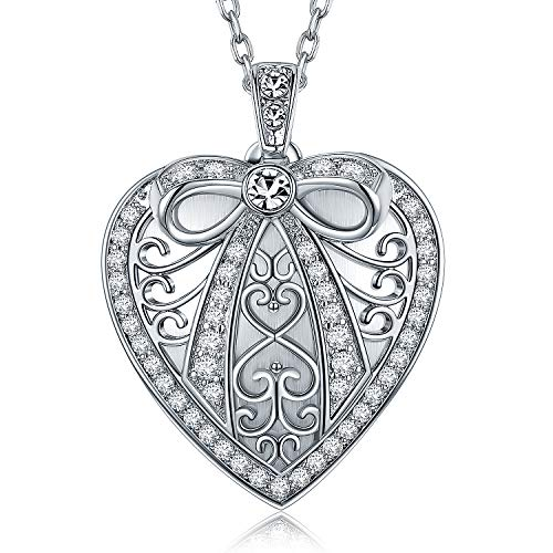 Locket Pendant Necklace with Sterling Silver 18 inch Chain Butterfly Knot on Heart Design Tiny Cubic Zirconia Inlayed Handcraft Pendant for Girls and Women (White gold, Locket only)