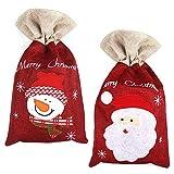 Yangfei 2pcs Bolsas para Regalo Saco de Navidad, 40 * 24cm Bolsa de Navidad de Lona, Saco de Navidad con Cordón Bolsa con Muñeco de Nieve y Saco de Papá Noel Decoración Navideña