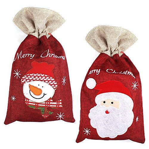 Yangfei 2 PCS Sacco di Natale Sacco Regalo Natale Babbo Sacco Borsa Regalo Natalizia in Tela Sacco per Regali Natalizi per Bambini di Natale Bomboniere 40 * 24cm(Rosso)