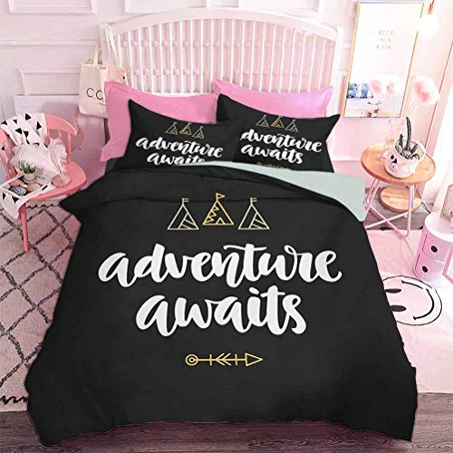 Hiiiman Lightweight Comforter Set for All Season Adventure Awaits Modern Calligraphy with Doodle Tents and an Arrow (3pcs, California King Size) Pillow case