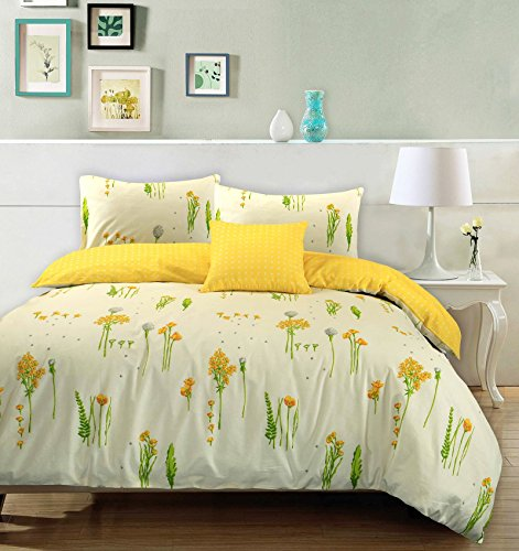Nimsay Home Set copripiumino 100% cotone con stampa floreale e foglie Summer Breeze, con federe, reversibile, 100% Cotone, Cream & Yellow, Doppio