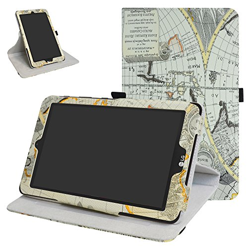 Mama Mouth 360 Grad Rotary mit Ständer Cute Muster Cover für 20,3 cm LG G Pad X II 8.0 Plus T-Mobile V530 Android 7.0 Tablet weiß Map White