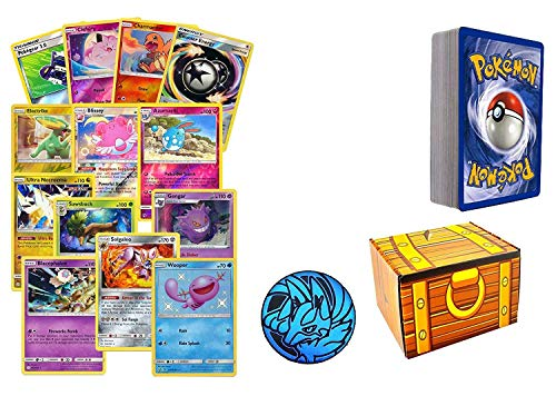 100 Assorted Pokemon Cards: 10 Foils, 5 Rare Cards, 1 Assorted Pokemon Coin, 85 Common/Uncommon Cards - All Cards are Authentic - Includes Golden Groundhog Storage Treasure Chest!