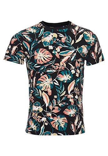 Superdry Herren Durchgehend bedrucktes T-Shirt mit Blumenmuster Schwarz Mit Durchgehendem Print XL