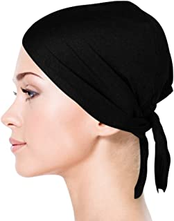 Jersey Bonnet Caps Under Scarf Head Wraps for Women Turban Hat with Tie-Back Closure