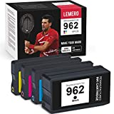 LEMERO Remanufactured Ink Cartridge Replacement for HP 962 962XL to use with OfficeJet Pro 9015 9015e 9010 9025 9025e 9020 9018 9012 9028 (Black, Cyan, Magenta, Yellow, 4-Pack)