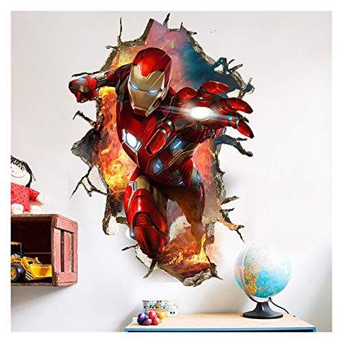 Jmxjiau Wall Stickers 3D superhero wall stickers for kids room removable baby bedroom anime wall decals decoration (Color : Blue)