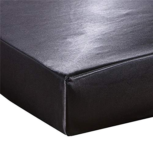 Milopon Sábana Bajera 135 x 190 cm, de Satén de Seda Muy Suave para Cama de Agua y Somier (Negro)