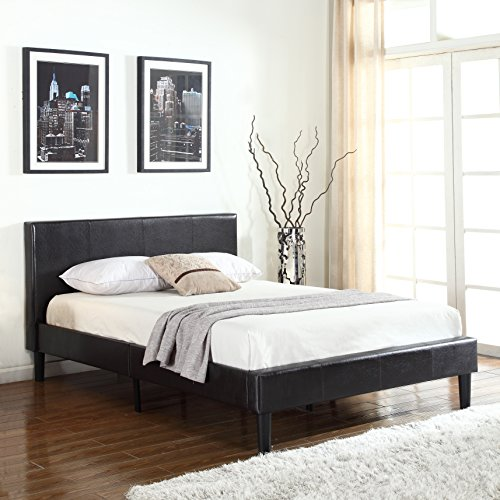 Divano Roma Furniture 32' Tall Size Platform Upholstered Bed Frame and Faux Leather Panel Headboard with Mattress Foundation and Solid Wood Slat Bed Support No Box Spring Needed Box Replacement, Queen
