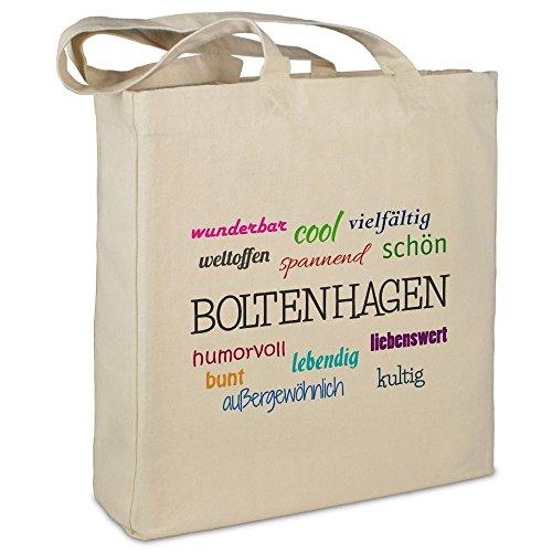 Stofftasche mit Stadt/Ort Boltenhagen - Motiv Positive Eigenschaften - Farbe beige - Stoffbeutel, Jutebeutel, Einkaufstasche, Beutel