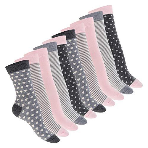 Celodoro Damen Motiv Socken (10 Paar), süße Söckchen aus Baumwolle - Pastell Mix 39-42