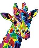 YEESAM ART Papelería jirafa colorida, pintura por números, 40,6 x 50,8 cm, kit de pintura para decoración de la pared del hogar (jirafa, sin marco)