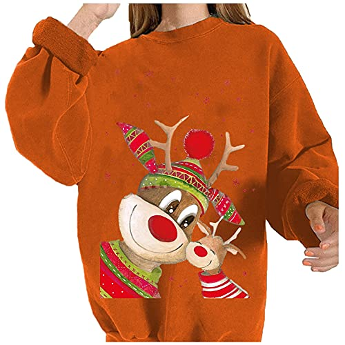 Boshivw Weihnachtspullover Damen Lustig,Sweatshirt Langarm Weihnachtskleid Xmas Print Weihnachtsmotiv Pullis Oberteils Minikleid Bluse Lässige Longpullover Kleidung Tops