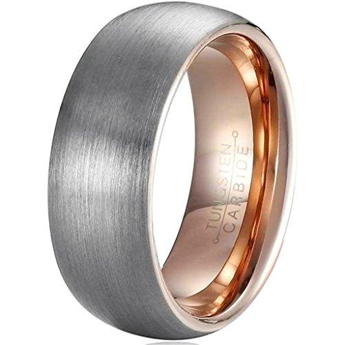 AmDxD Herren Ring Wolfram Stahl (mit Gratis Gravur) Runde 8MM Silber Rose Gold Ehering 58 (18.5)