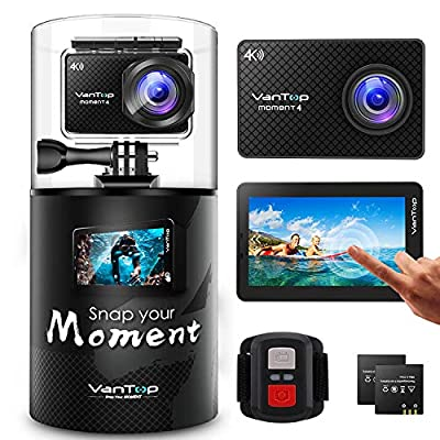 VanTop 4K Action Camera 20MP Moment 4 Underwater Waterproof Camera with EIS, Touch Screen, Remote, 170° Wide Angle WiFi Sports Cam with 2 Batteries and Accessories Kit from VanTop