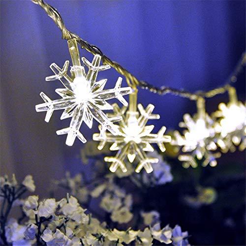 5M 50 LED Forma de copo de nieve LED Cadena de Luz Alimentada por Batería de Hadas Decoración de Luces para el Hogar Dormitorio