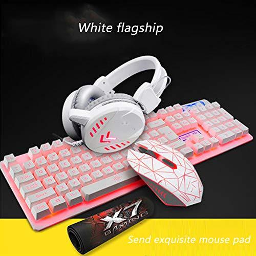 YYZLG Keyboard Mouse Set Headset Driedelig Spel Lichtgevende Computer Desktop Bedraad Toetsenbord En Muis (send Mouse Pad), size, roze