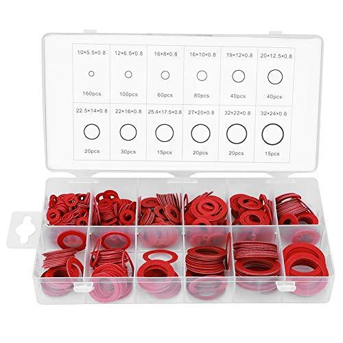 QWSX Reibung verringern 600pcs Red Vulkanfiber-Washer Dichtung Runde Isolierung Papier Red Steel Papier Scheiben Sortiment Kits verwenden