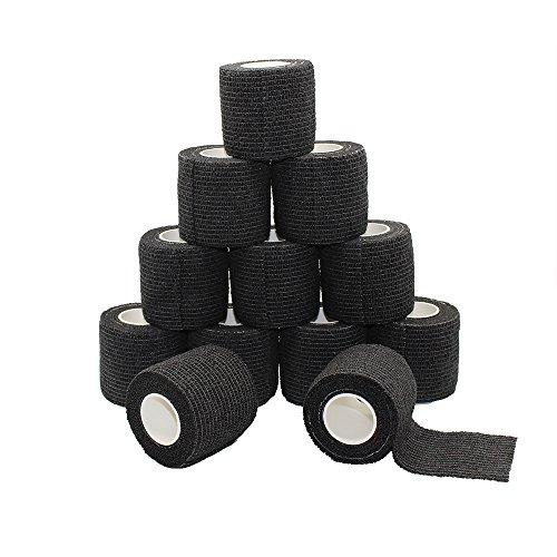 Fuluning, 12 Stück, 5,1 cm x 5 meter Tapeverband, Selbsthaftend Tape, stark Sport Tape für Handgelenk, Knöchel Verstauchungen und Schwellungen