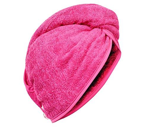 Carenesse Haarturban pink, 100% saugstarke Baumwolle, Aufsetzen – Einwickeln - Festknöpfen - Stabiler Halt, Kopf Handtuch, Haar-Turban, Haar Turban, Kopfhandtuch, Haartrockentuch, Handtuch für Haare