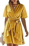Spec4Y Damen Kleider V-Ausschnitt Vintage Kurzarm Rüschen Punkte Sommerkleid A-Linie Swing...