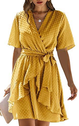 Spec4Y Damen Kleider V-Ausschnitt Vintage Kurzarm Rüschen Punkte Sommerkleid A-Linie Swing Strandkleid mit Gürtel Gelb Medium